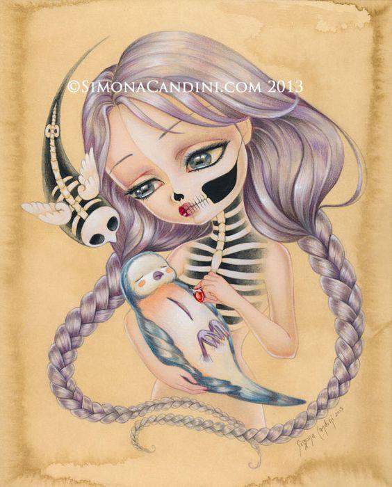 Retour à la vie à tirage limité signé numérotée Simona Candini lowbrow pop surréaliste grands yeux sucre art gothique de crâne fille