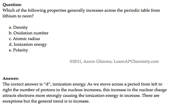 Pne Question  Ap Chem   Atomic Structure And Periodicity