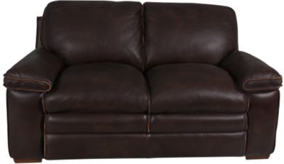 Homemakers Furniture: 100% Leather Loveseat: Flexsteel: Living Room: Loveseats