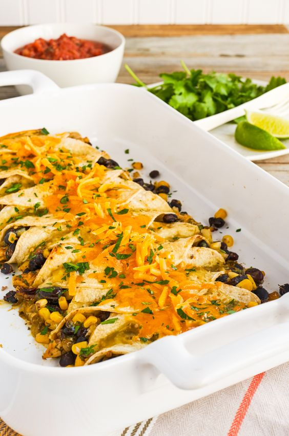 This crowd-pleasing Chicken and Black Bean Enchilada dinner has 7 g of fiber and 27 g of protein per serving!