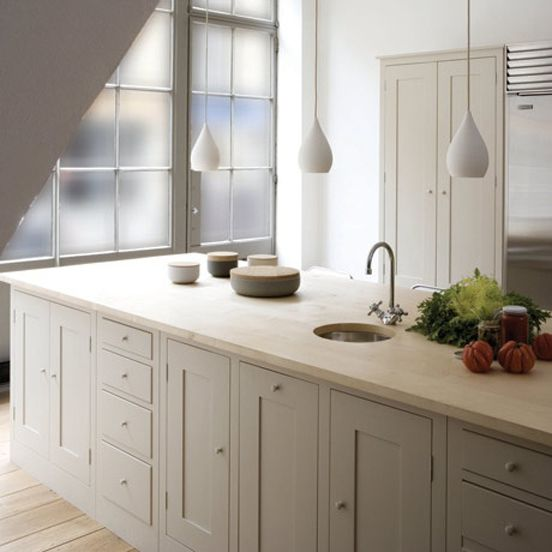From across the pond, the sublime work of Plain English.  The soft chalky finishes on floor and cabinetry are just beautiful.