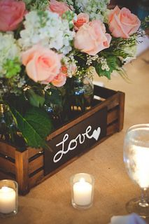Use a box to hold each table's floral arrangement. Then, draw different messages on each crate | Centerpiece Inspiration | Courtney & Dustin | Nickerson-Campbell Wedding |Caroline Maxcy Photography