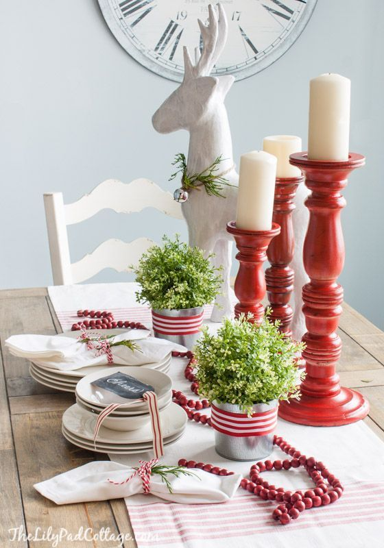 Red And White Christmas Tablescape Deer Table Scapes
