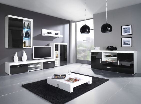 Living Room, Modern Living Room Sets With Black Carpet And White
