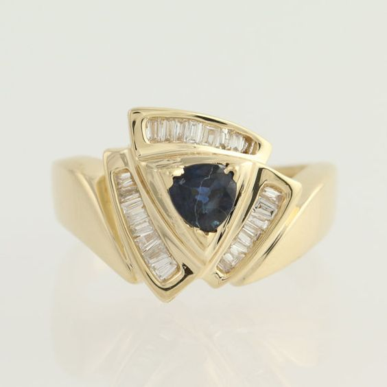 Sapphire & Diamond Ring  14k Yellow Gold by WilsonBrothers on Etsy