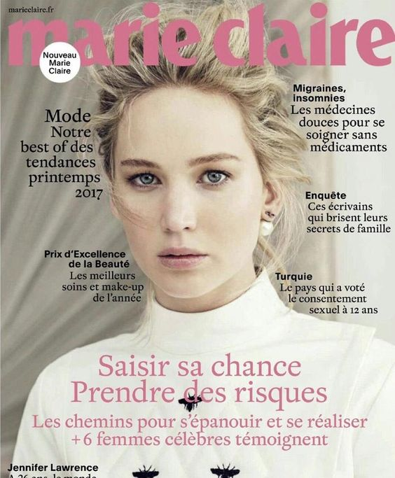 Jennifer Lawrence covers Marie Claire France - #France #JenniferLawrence #Mode #Moda #Estilo #Fashion