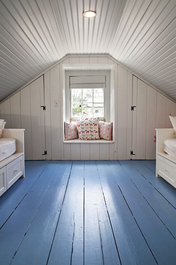 Painted plank attic--simple and clean. painted wood floors. home decor and interior decorating ideas.
