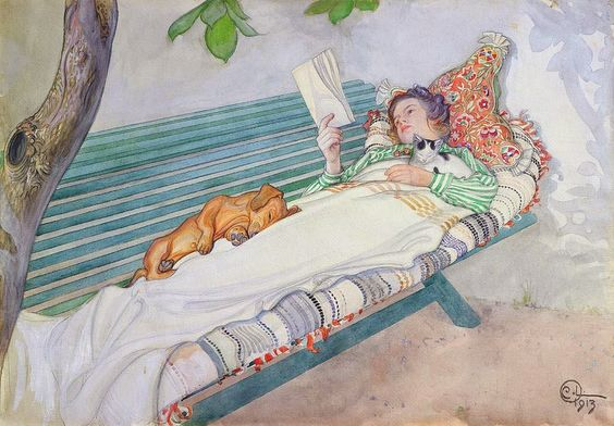 Woman Lying on a Bench (1913). Carl Larsson (Swedish, 1855-1919). Pencil and watercolour. After spending two summers in Barbizon, the refuge of the plein-air painters, Larsson settled down with his...:
