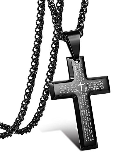Jstyle Jewelry Men's Stainless Steel Simple Black Cross Pendant Lord's Prayer Necklace 22 24 30 Inch (5. Pendant + 24 inch Wheat Chain)