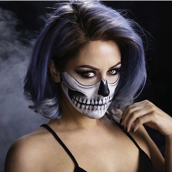 Half Skeleton Makeup | Halloween Makeup Ideas | Pinterest | Skeleton Makeup Half Skeleton ...