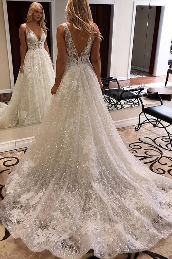 30 Classy Wedding Gowns Lace Fit And Flare Bridal Style For Simple Princess Look Lifestyle State In 2020 Wedding Dress Sequin Beach Bridal Dresses Ivory Lace Wedding Dress