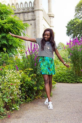 Versace for H&M skirt with a stripy top by I Want You To Know UK Fashion Blog, via Flickr