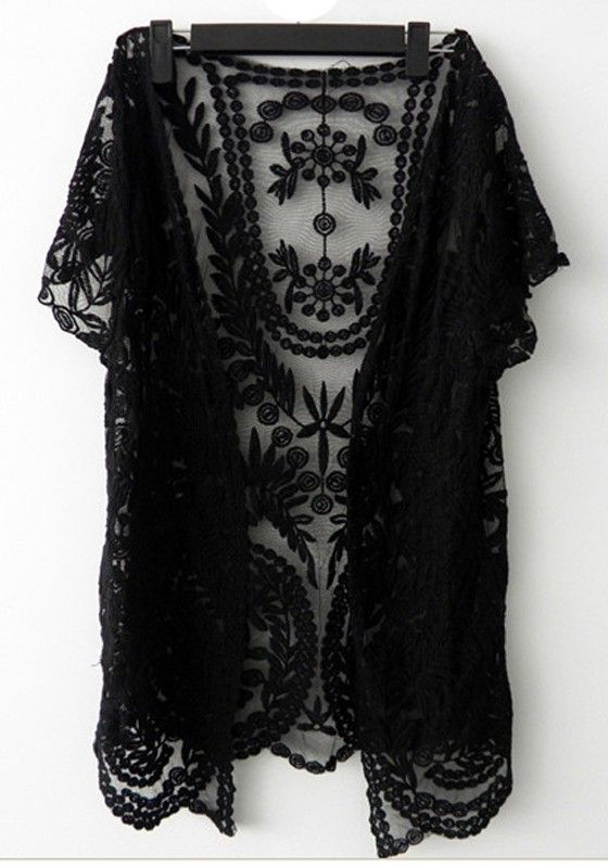 Black Flowers Hollow-out V-neck Lace Crochet Short Sleeve Cardigan ...