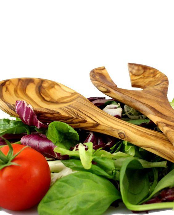 "Salatbesteck ""Sousse"" aus Olivenholz 27 cm | treevoli"