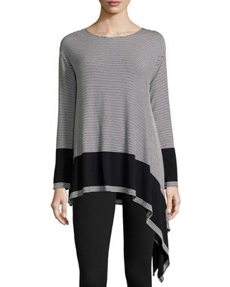Striped Asymmetric-Hem Tunic, Black/Ivory by Max Studio at Neiman Marcus Last Call.