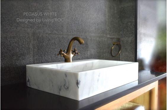 Vasque 60x40 marbre Blanc + trou de robinet - PEGASUS WHITE