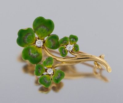 786. A Charming Enamel and Diamond Four Leaf Clover Pin - September 2010 Auction - ASPIRE AUCTIONS