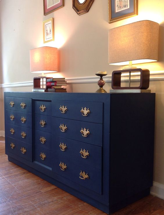 Boring old dresser turned Royal Masterpiece all with a little of Annie Sloan's Napoleonic Blue