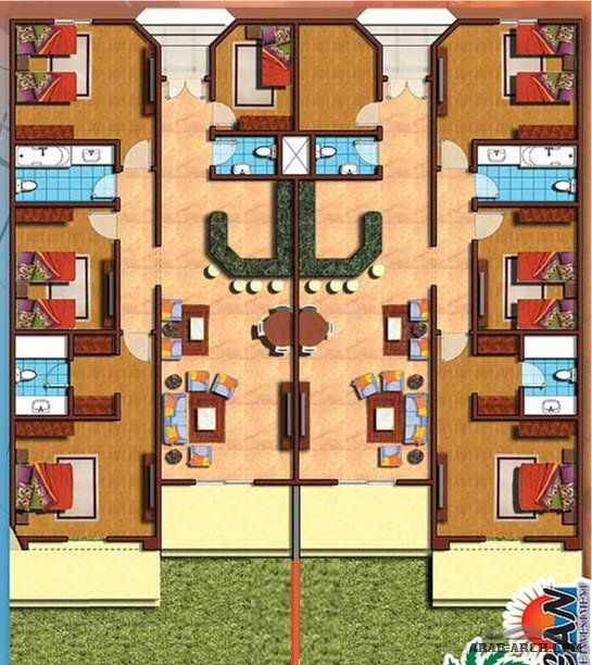 خرائط وحدة 5 شقق منفصلة 2 غرفة نوم لكل شقة من مشروع منزلك بالمدينة Building Design Plan Architectural Floor Plans Modern House Floor Plans