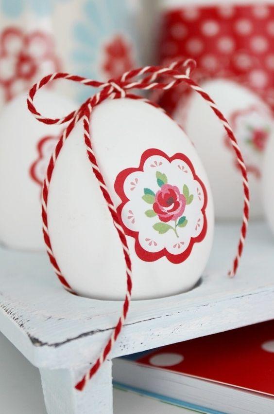Ovos de Páscoa decorados com tinta e linho | Eu Decoro: