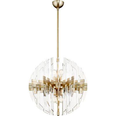 Everly Quinn Steele 6 Light Globe Chandelier Finish Aged Brass