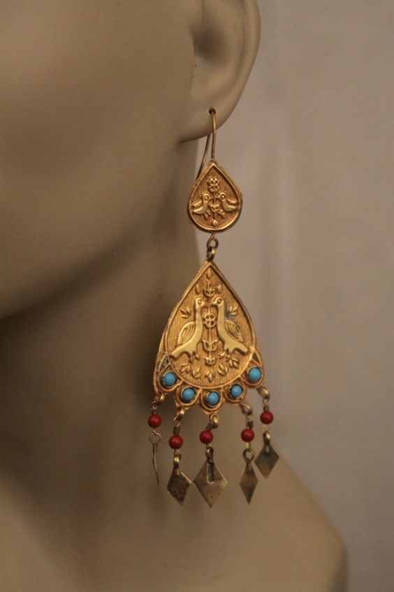 Gold gypsy earrings - Beautiful Love Birds -- plated with turquoise blue and coral red beads -- old Afghan triba