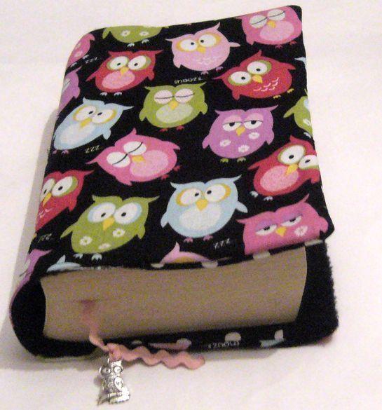 ♥Buchhülle Buchumschlag Eulen bunt m. Lesezeichen mit Schmuckeule ♥für dicke & dünne Bücher!       Für Taschenbücher dick und dünn!   Dein Buch für un