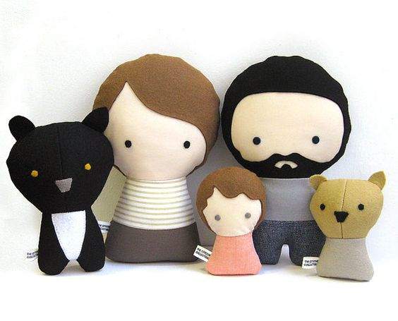 Handmade Personalized Family with Dog. Stuffed fabric doll. Custom your own family. Customize.