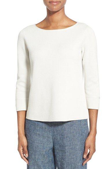 Eileen Fisher Silk & Cotton Bateau Neck Boxy Sweater (Regular & Petite)