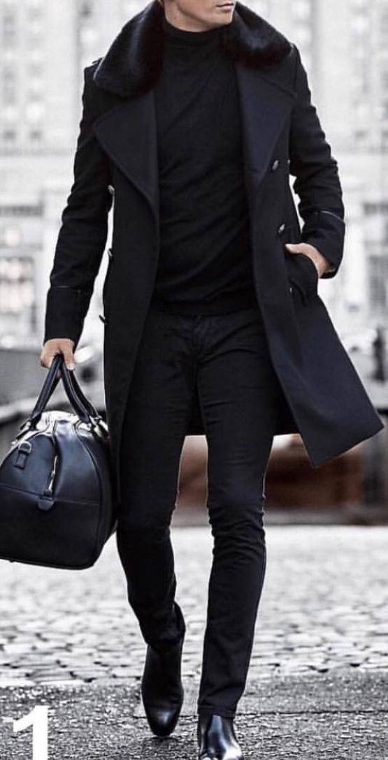 Mens Fashion Suits, All Black Trench Coat Outfit