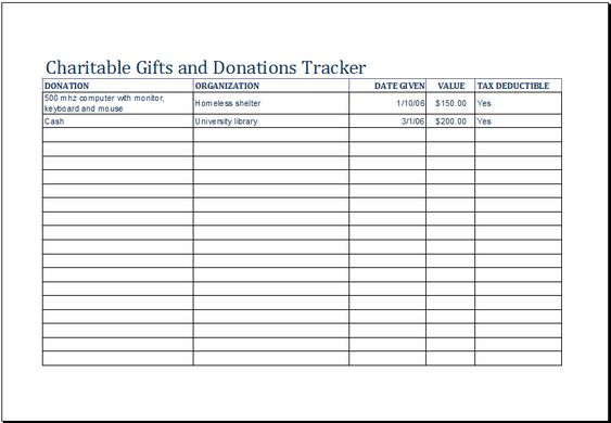 charitable gifts and donation tracker template at xltemplatesorg - landlord inventory template