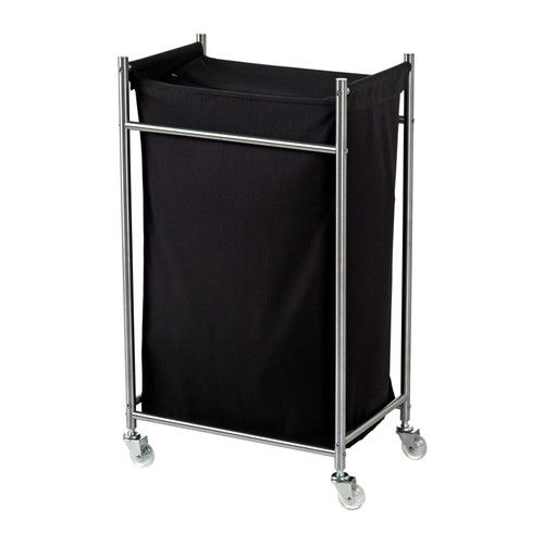 grundtal laundry bin with casters stainless steel black. Black Bedroom Furniture Sets. Home Design Ideas