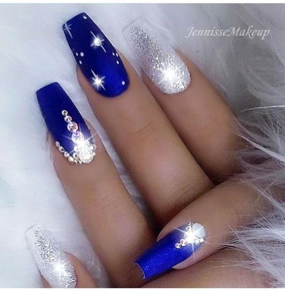 Sparkle Blue And Silver Nails By Jennisse Makeup Gorgeous Nails Blue Acrylic Nails Silver Nails