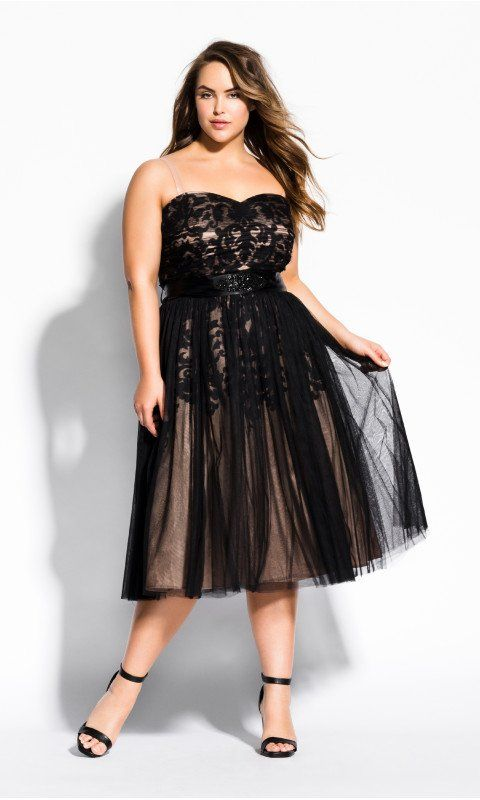 Embroidered Tulle Dress - Black in 2019 | Plus size party ...