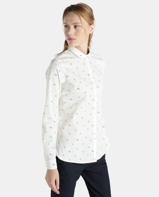 rico y magnífico estilo único precio de fábrica Camisa estampada de mujer Tommy Hilfiger con manga larga en ...