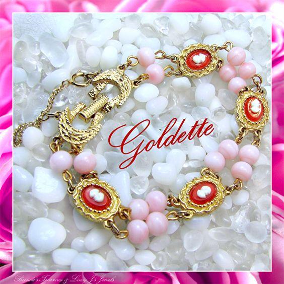 Goldette's Vintage Cameo Bracelet - Glass Angel Coral