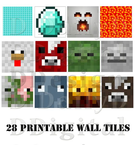DIY Printable Minecraft Party Wall / Home By