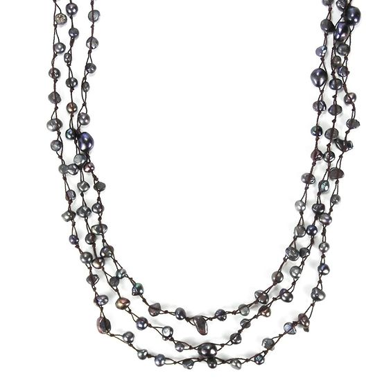 Pearl Orient Cultured Freshwater Black Pearl Triple Strand Necklace >>> You can find more details by visiting the image link.