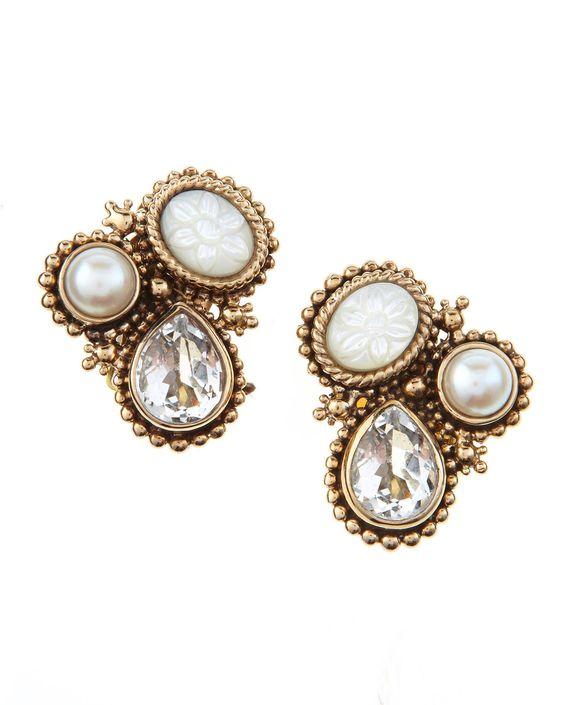 Stephen Dweck Three-Stone Earrings
