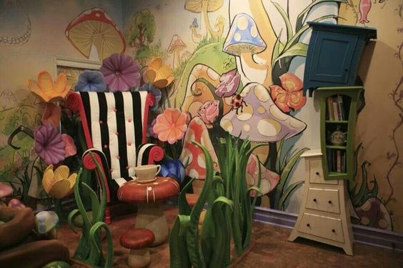 Alice in Wonderland room- awesome! Tons of upcycling options here! I love the painted chair and wacky shelf dresser.:
