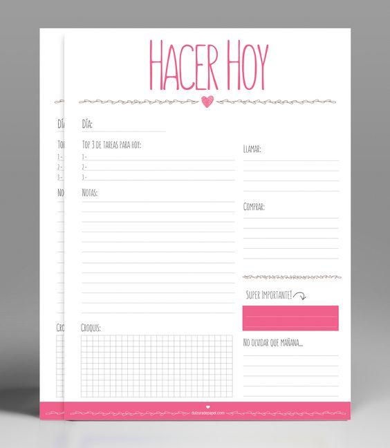 Planificador diario para imprimir GRATIS! Diseñado en A4 a color de alta calidad. #planificador #imprimible: