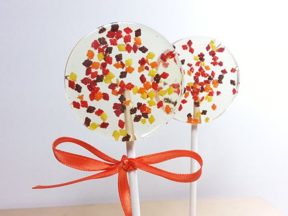 Autumn Favors, Fall Wedding, Fall Favors, Hard Candy Lollipops, Candy Lollipop, Lollipops, Sweet Caroline Confections, SIX LOLLIPOPS