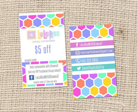 LuLaRoe Business Cards HO approved colors and fonts by SweetSights ...