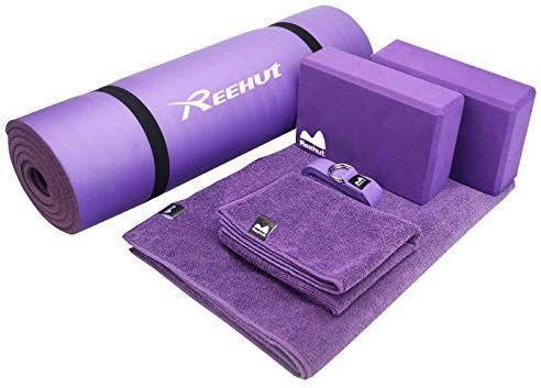 Bestdeal Reehut Yoga Starter Kit 6 Piece Set Includes 1 2 Thick Nbr Exercise Mat 2 Yoga Foam Blocks 1 H Yoga Mat Carrying Strap Yoga Strap Yoga Mat Towel