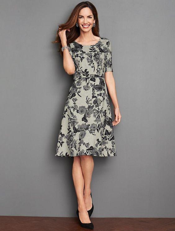 Beautiful grey flower printed dress.