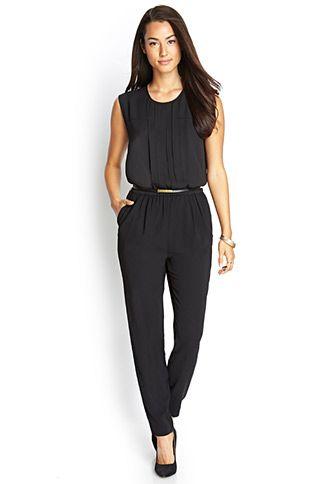 Sleek Jumpsuit w/ Belt   LOVE21 - 2000090776