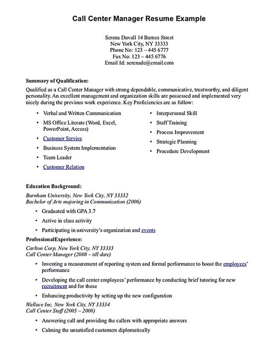 Call Center Resume For Professional With Relevant Experience