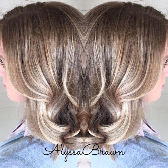 Dark Root Balayage Highlights Soft Natural Short Hair