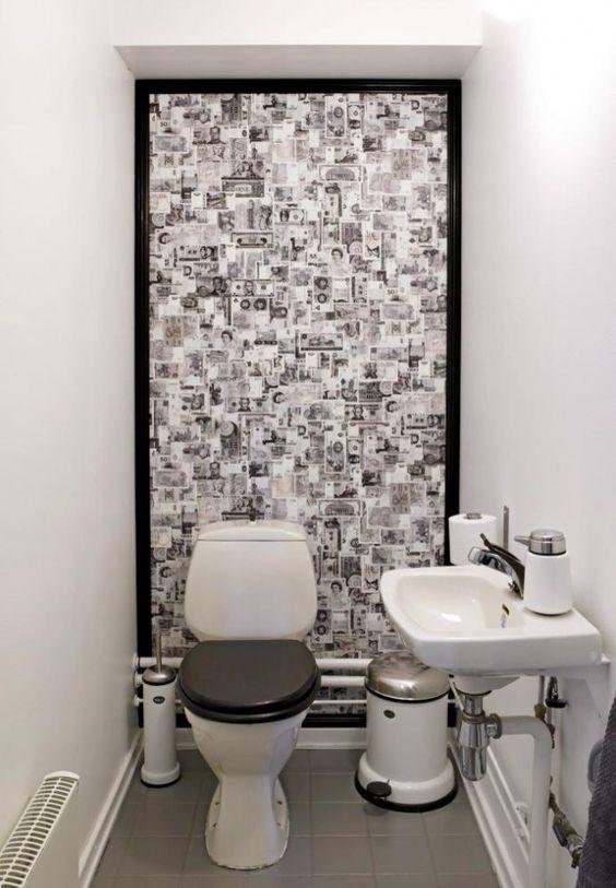 Ha et lite toalett med tapet på veggen bak! drømmen ville vært ...