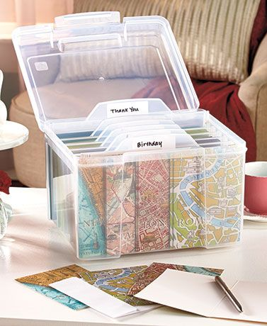 The greeting card organizer comes with six dividers for labeling by year, holiday or person?whatever suits your needs.